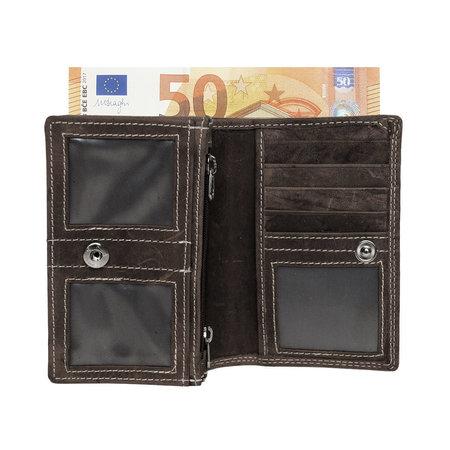 Dames Portemonnee Met RFID Van Donkerbruin Leer
