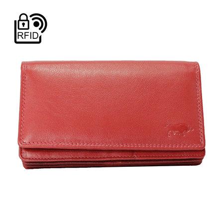 Dames Portemonnee van Rood Leer met RFID-bescherming