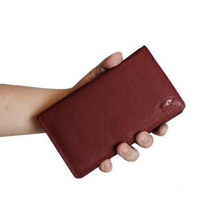 Dames Portemonnee van Donkerrood Leer met RFID