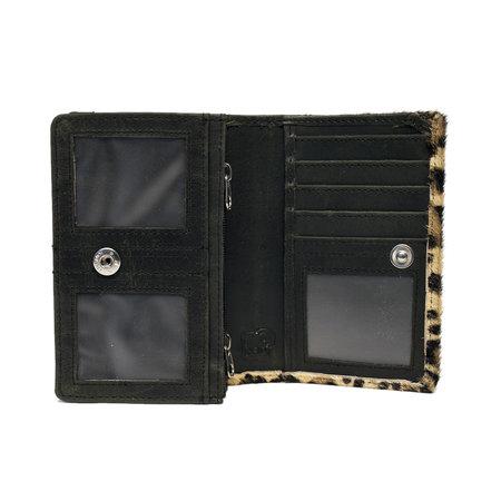 Zwart Leren Dames Portemonnee met een Dierenprint