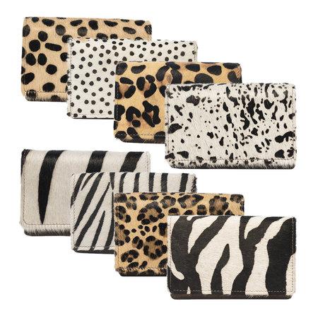 Zwart Leren Dames Portemonnee met een Witte Cheetah Print