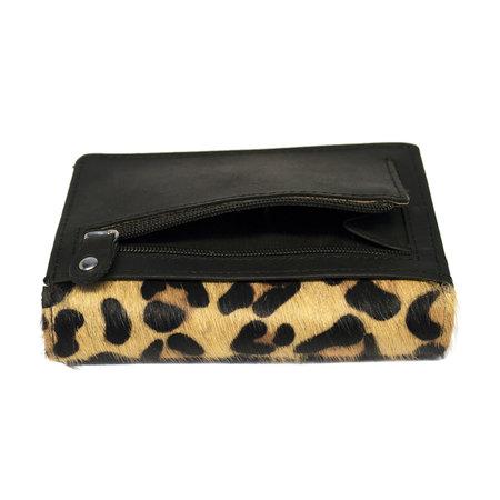 Zwart Leren Dames Portemonnee met een Jaguar Print