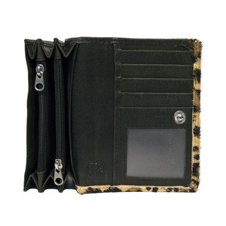 Zwart Leren Dames Portemonnee met een Luipaard Print