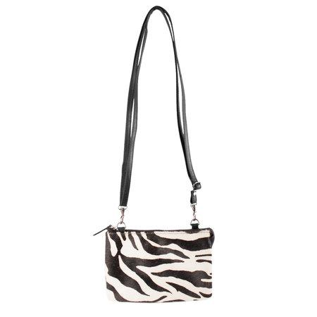 Leren Crossbody Tasje Zwart Buffelleer met Zebra Print