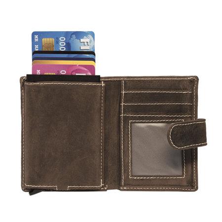 Leren Pasjeshouder Donkerbruin met Cardprotector