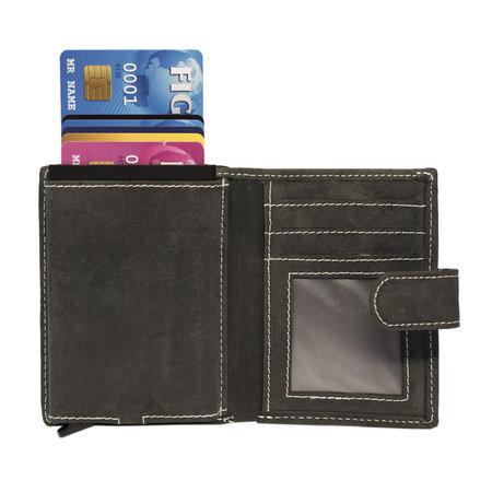 Leren Pasjeshouder met Cardprotector van Zwart Buffelleer