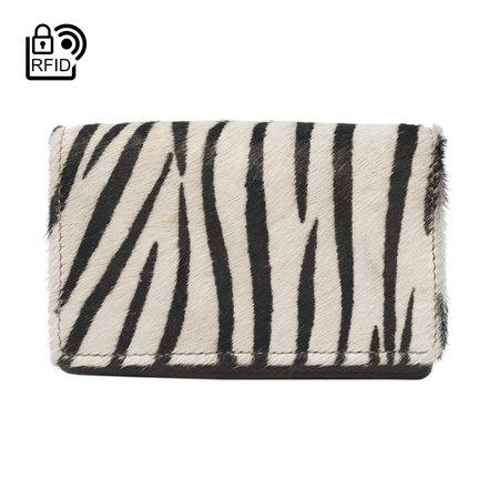 Leren Dames Portemonnee Lichtbruin met een Zebra Print