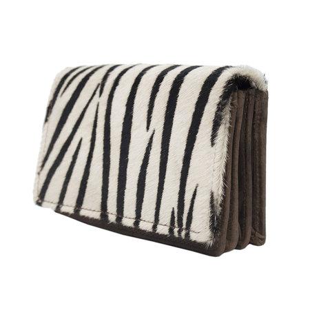 Leren Dames Portemonnee Donkerbruin met een Zebra Print