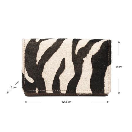 Donkerbruin leren Portemonnee met een Zebra Print