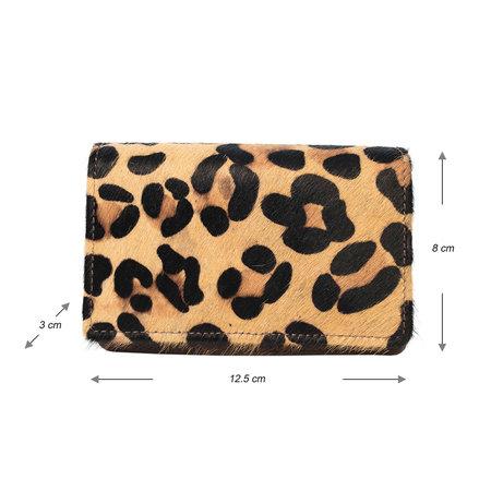 Leren Portemonnee Donkerbruin met een Jaguar Print