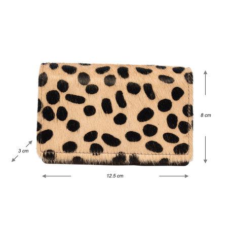 Leren Portemonnee Donkerbruin met een Cheetah Print