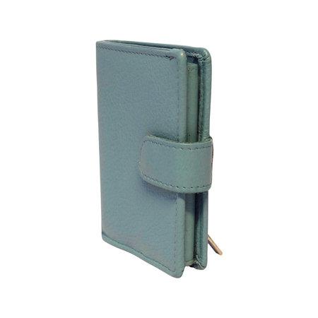 Leren Pasjeshouder met Cardprotector Lichtblauw