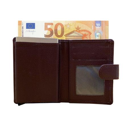 Leren Pasjeshouder met Cardprotector Bordeauxrood