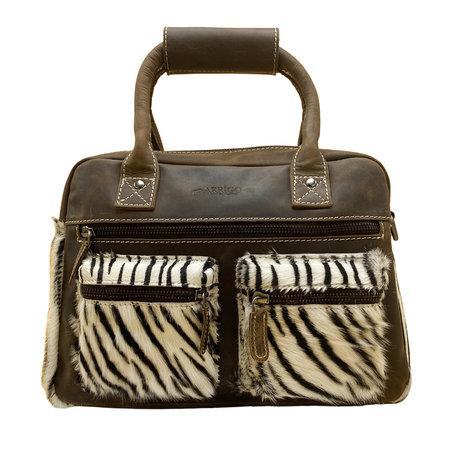 Leren Westernbag Donkerbruin met een Zebra Print