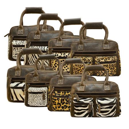 Leren Cowboysbag Donkerbruin met een Zebra Print