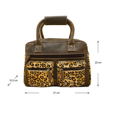 Leren Westernbag Donkerbruin met een Luipaard Print