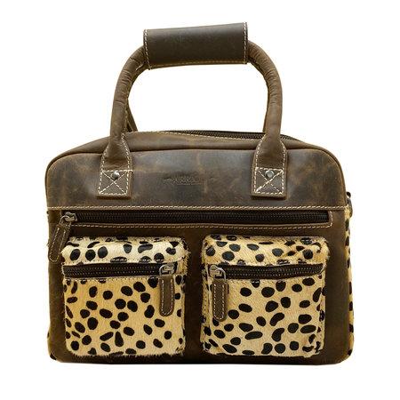 Leren Westernbag Donkerbruin met een Cheetah Print