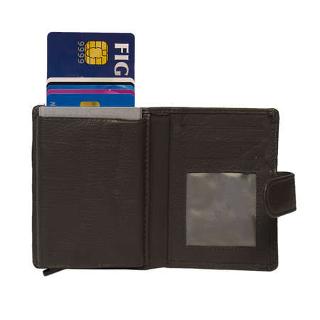 Leren Mini Portemonnee met Cardprotector Donkerbruin