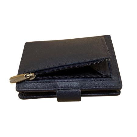 Leren Pasjeshouder met Cardprotector Donkerblauw
