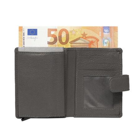 Leren Mini Portemonnee met Card Protector Grijs