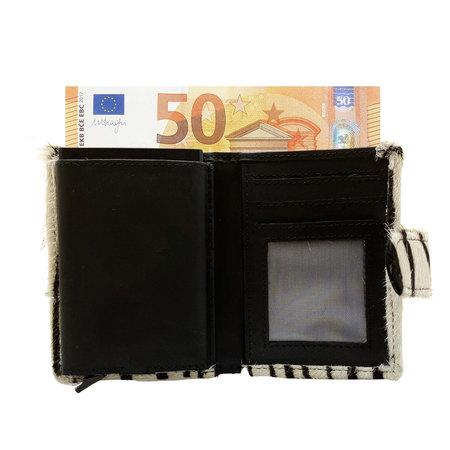 Leren Mini Portemonnee Zwart met Cardprotector en Zebra Print