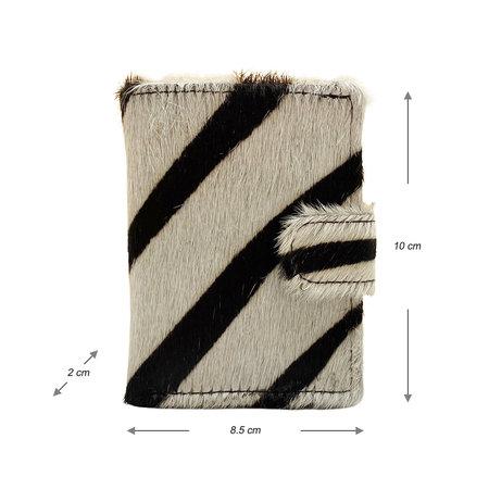 Leren Pasjeshouder Zwart met Cardprotector en Zebra Print