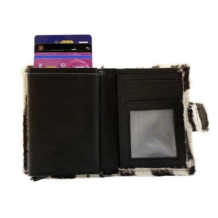 Zwart Leren Pasjeshouder met Cardprotector en Zebra Print