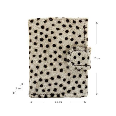 Leren Pasjeshouder Zwart met Cardprotector en Cheetah Print