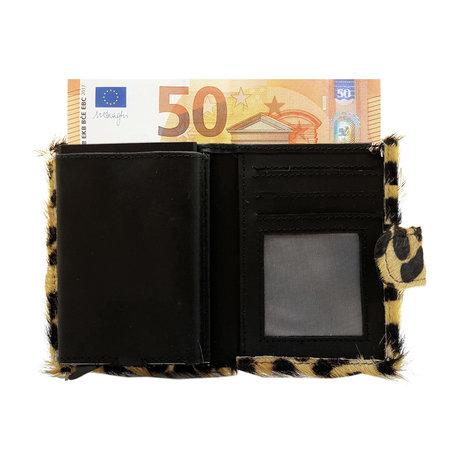 Leren Pasjeshouder Zwart met Cardprotector en Jaguar Print