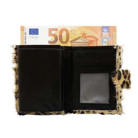 Leren Pasjeshouder Zwart met Card Protector en Luipaard Print