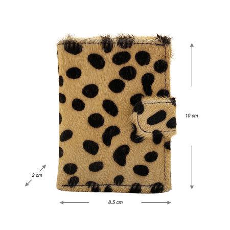 Leren Mini Portemonnee Zwart met Card Protector en Cheetah Print
