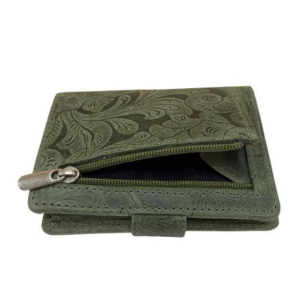 Leren Mini Portemonnee Groen met Card Protector en Bloemenprint