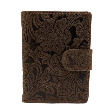 Leren Mini Portemonnee Bruin met Card Protector en Bloemenprint