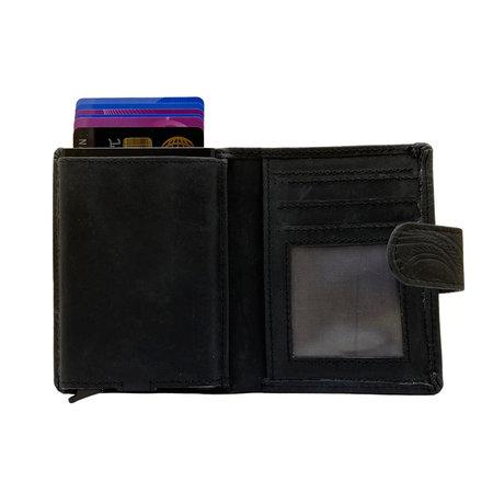 Leren Mini Portemonnee Zwart met Card Protector en Bloemenprint