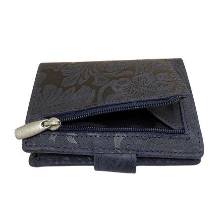 Leren Mini Portemonnee Donkerblauw met Card Protector en Bloemenprint