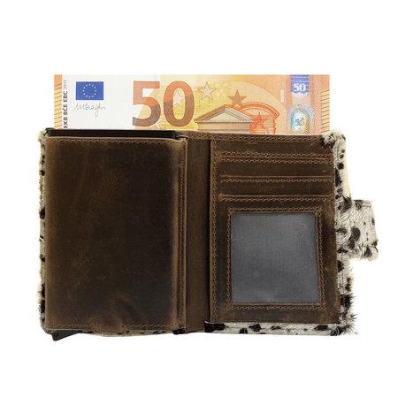 Leren Pasjeshouder Cognac met Cardprotector en Dierenprint
