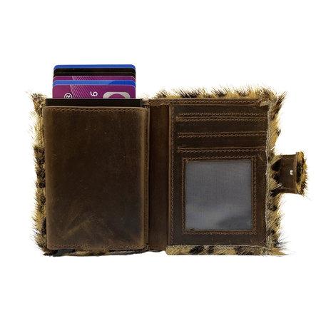 Leren Pasjeshouder Cognac met Card Protector en Luipaard Print