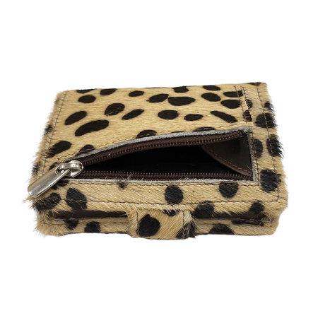 Leren Mini Portemonnee Cognac met Card Protector en Cheetah Print