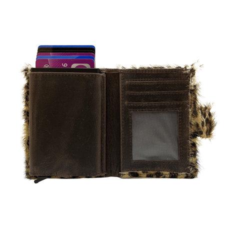 Leren Pasjeshouder Donkerbruin met Card Protector en Luipaard Print