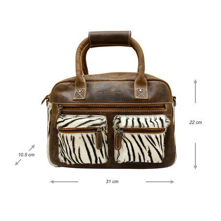Leren Westernbag Bruin met een Zebra Print