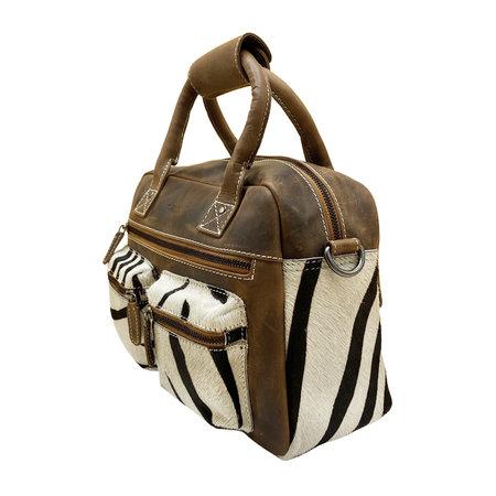 Leren Cowboysbag Bruin met een Zebra Print