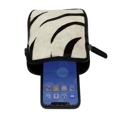 Telefoontasje van Zwart Leer met Zebra Print