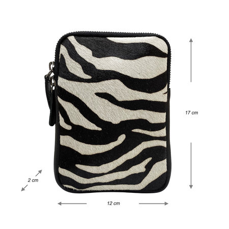 Zwart Leren Telefoontasje met Zebra Print