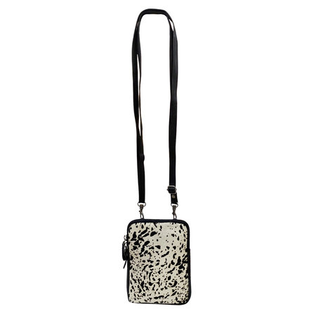 Zwart Leren Telefoontasje met Dierenprint