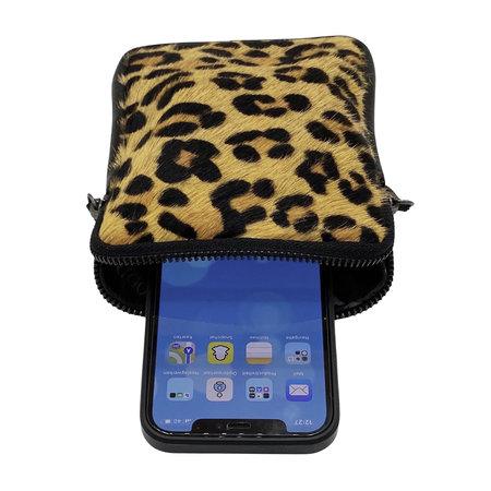 Telefoontasje van Zwart Leer met Tijgerprint