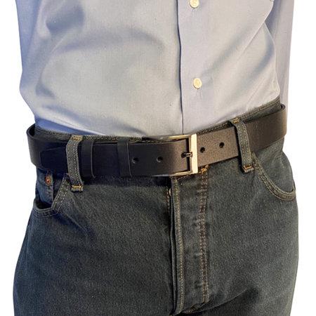 Leren riem van 3.5 cm breed in de kleur donkerblauw