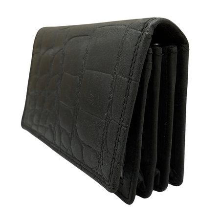 Leren Dames Portemonnee Zwart met Croco-print