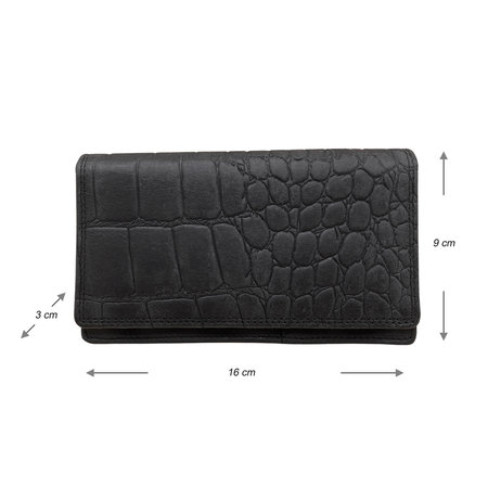 Croco-print Leren Dames Portemonnee van Zwart Leer
