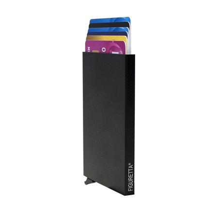 Leren Mini Portemonnee Donkerbruin met Card Protector en Dierenprint