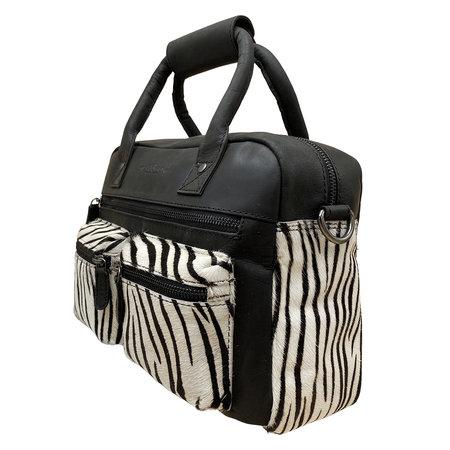 Handtas Dames Leer Zwart met een Zebraprint